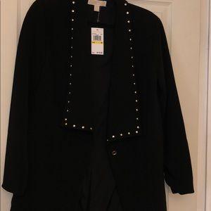 Michael Kors Black Long Blazer with Gold Studs